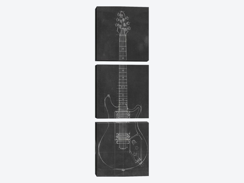 Electric Guitar Blueprint II by Ethan Harper 3-piece Canvas Print