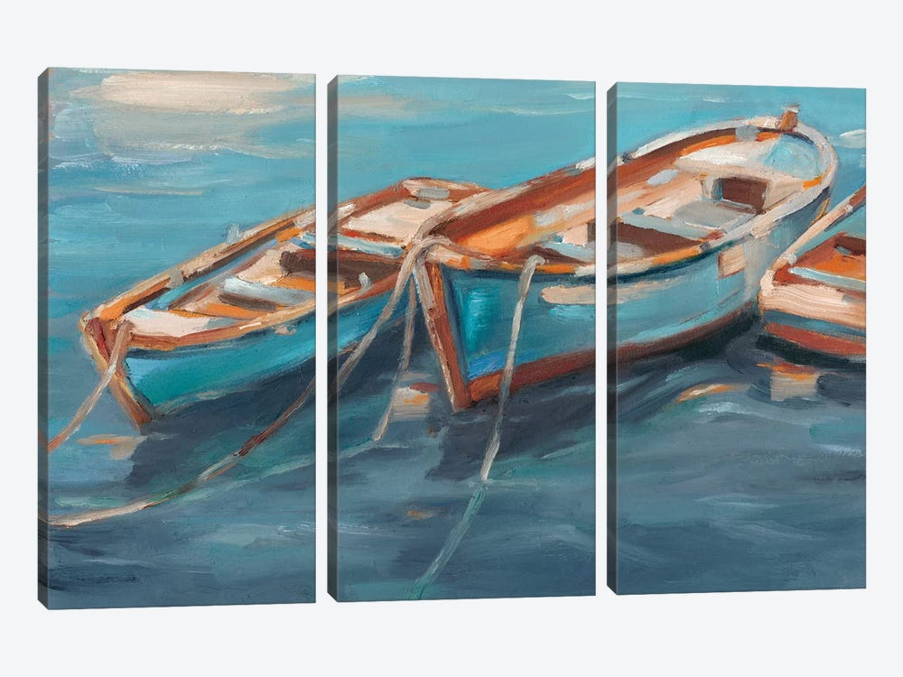 Tethered Row Boats I by Ethan Harper 3-piece Canvas Print