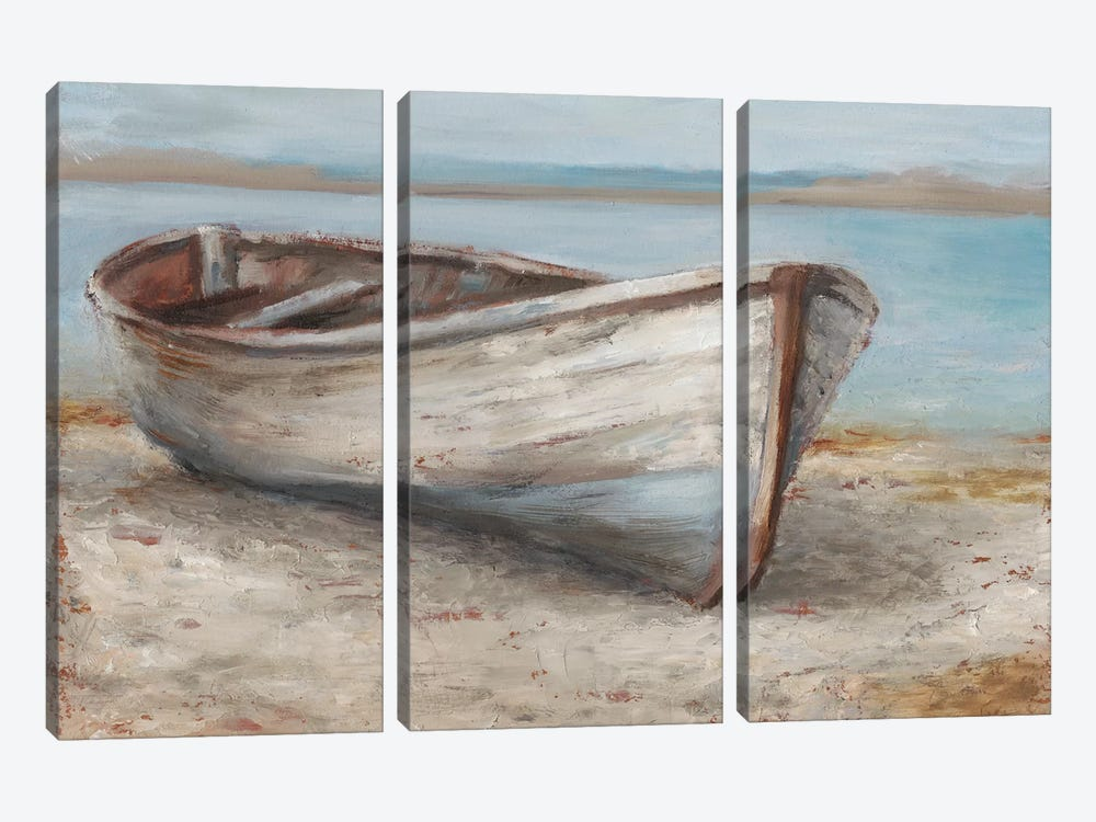 Whitewashed Boat I by Ethan Harper 3-piece Canvas Art Print