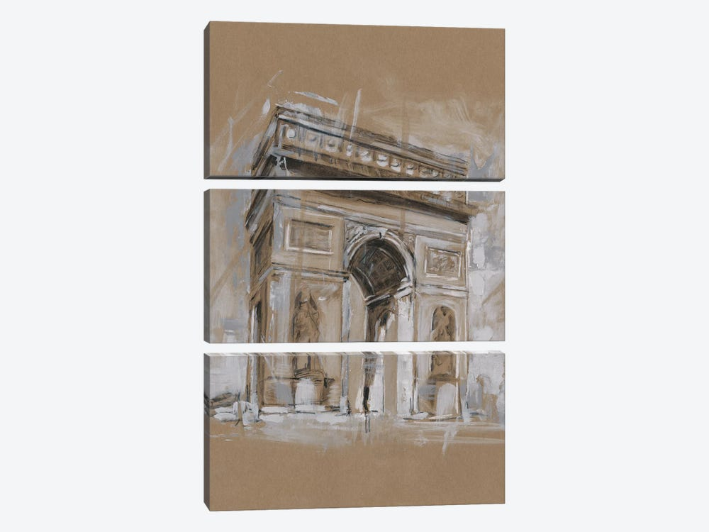 Brushwork Architecture Study I by Ethan Harper 3-piece Canvas Wall Art