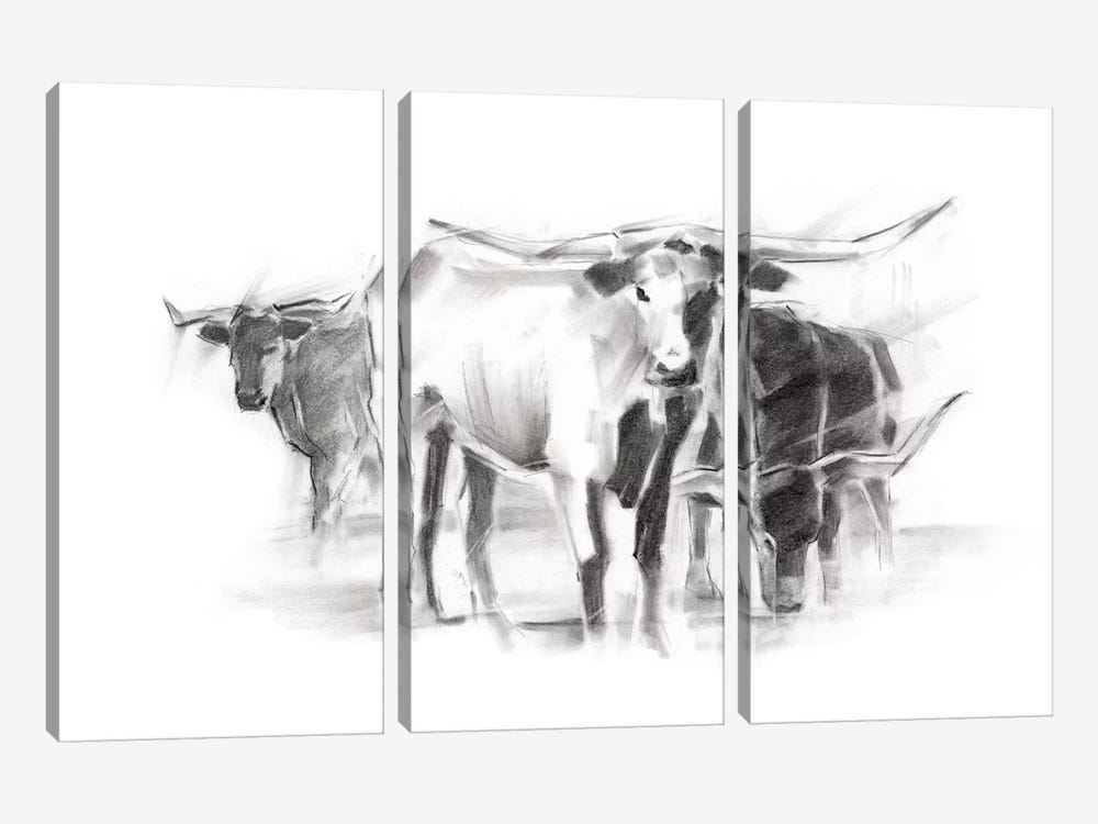 Contemporary Cattle II by Ethan Harper 3-piece Canvas Print
