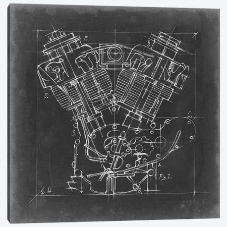 Motorcycle Engine Blueprint I Canvas Print #EHA499} by Ethan Harper Art Print