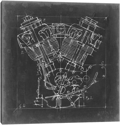 Motorcycle Engine Blueprint I Canvas Art Print