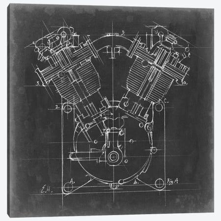 Motorcycle Engine Blueprint II Canvas Print #EHA500} by Ethan Harper Canvas Print