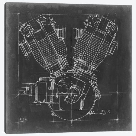 Motorcycle Engine Blueprint III Canvas Print #EHA501} by Ethan Harper Canvas Print
