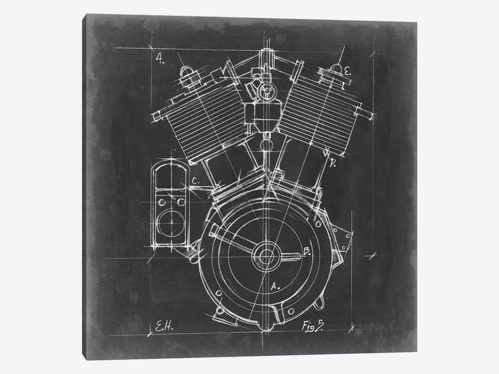 motorcycle engine blueprint iv canvas artwork by ethan harper icanvas Motorcycle Engine Work Diagram Motorcycle Engine Art #15