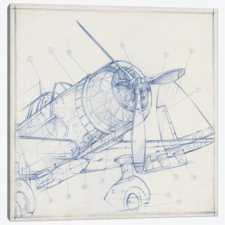 Airplane Mechanical Sketch I 3-Piece Canvas #EHA684} by Ethan Harper Canvas Print