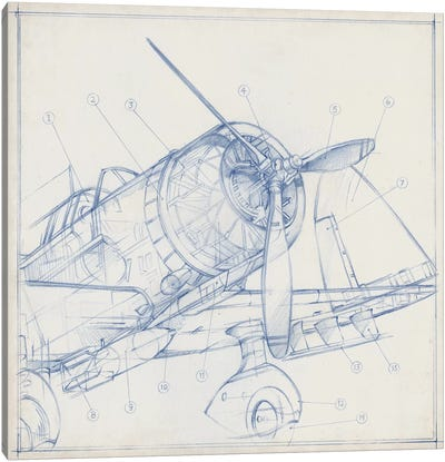 Airplane Mechanical Sketch I Canvas Art Print
