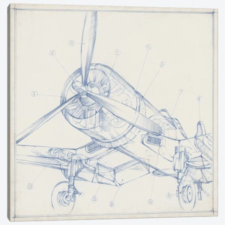 Airplane Mechanical Sketch II 3-Piece Canvas #EHA685} by Ethan Harper Canvas Print