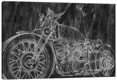 Motorcycle Mechanical Sketch II Canvas Art Print