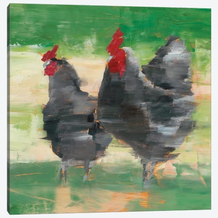 Black Rooster & Hen II Canvas Print #EHA698} by Ethan Harper Art Print