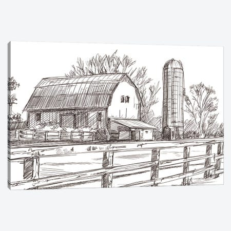 Farm Sketch I Canvas Print #EHA713} by Ethan Harper Canvas Art