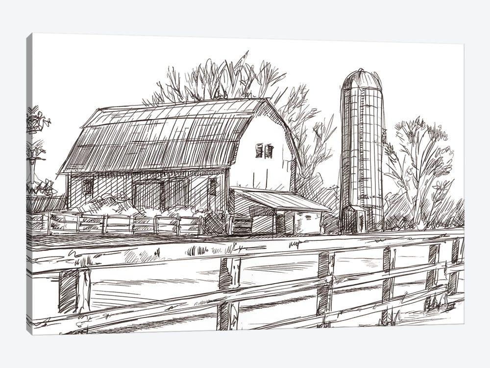 Farm Sketch I by Ethan Harper 1-piece Canvas Artwork