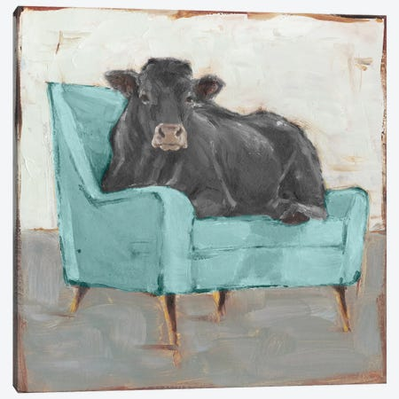 Moo-ving In IV - Black Canvas Print #EHA774} by Ethan Harper Canvas Art Print