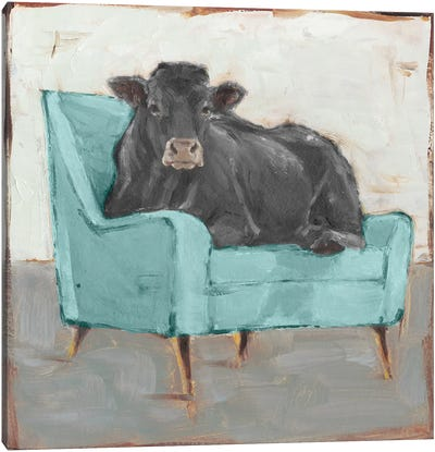 Moo-ving In IV - Black Canvas Art Print