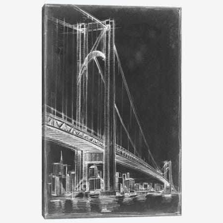 Suspension Bridge Blueprint I Canvas Print #EHA79} by Ethan Harper Canvas Art