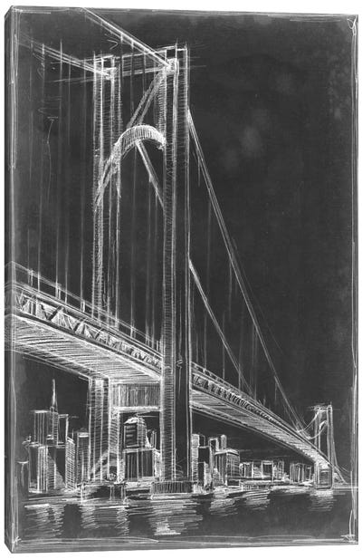 Suspension Bridge Blueprint I Canvas Art Print