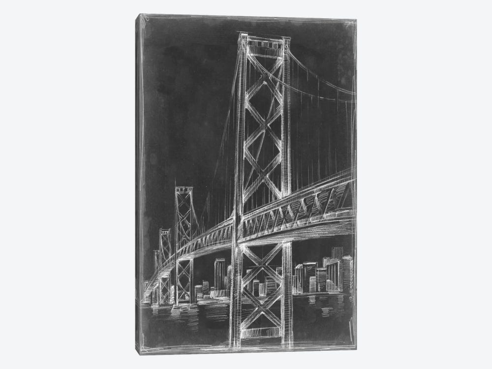Suspension Bridge Blueprint II 1-piece Canvas Artwork