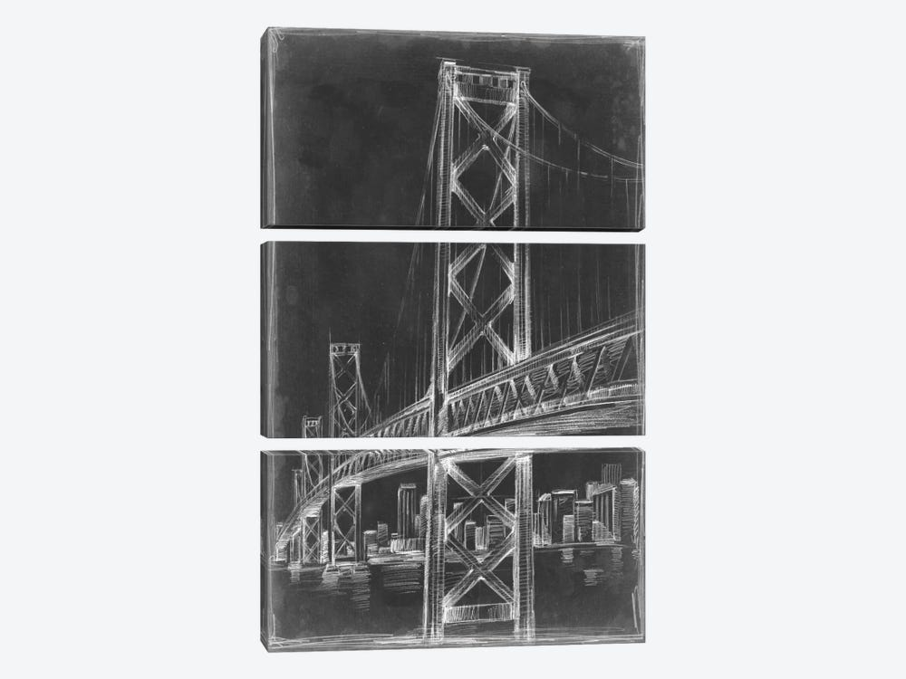 Suspension Bridge Blueprint II by Ethan Harper 3-piece Canvas Artwork