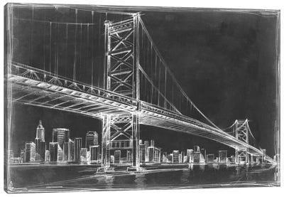 Suspension Bridge Blueprint III Canvas Print #EHA81