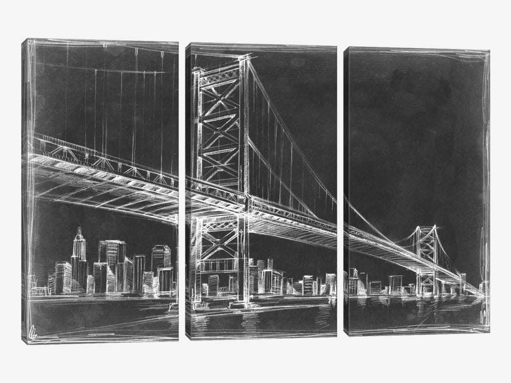Suspension Bridge Blueprint III by Ethan Harper 3-piece Canvas Art Print