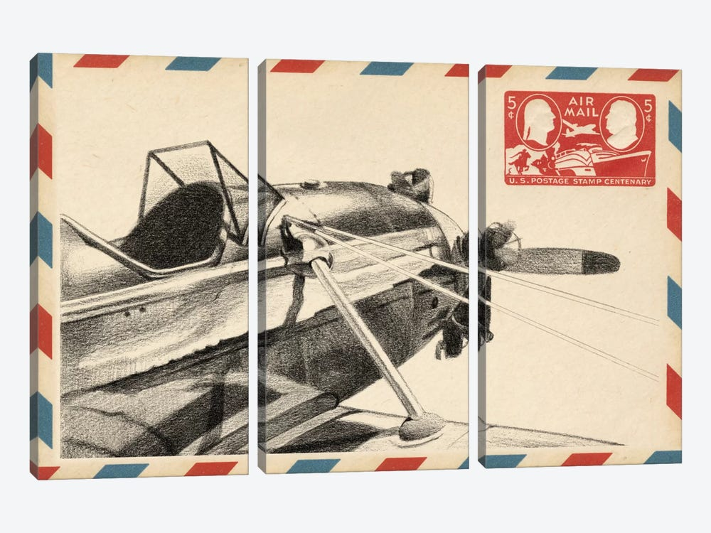 Vintage Airmail I by Ethan Harper 3-piece Canvas Artwork