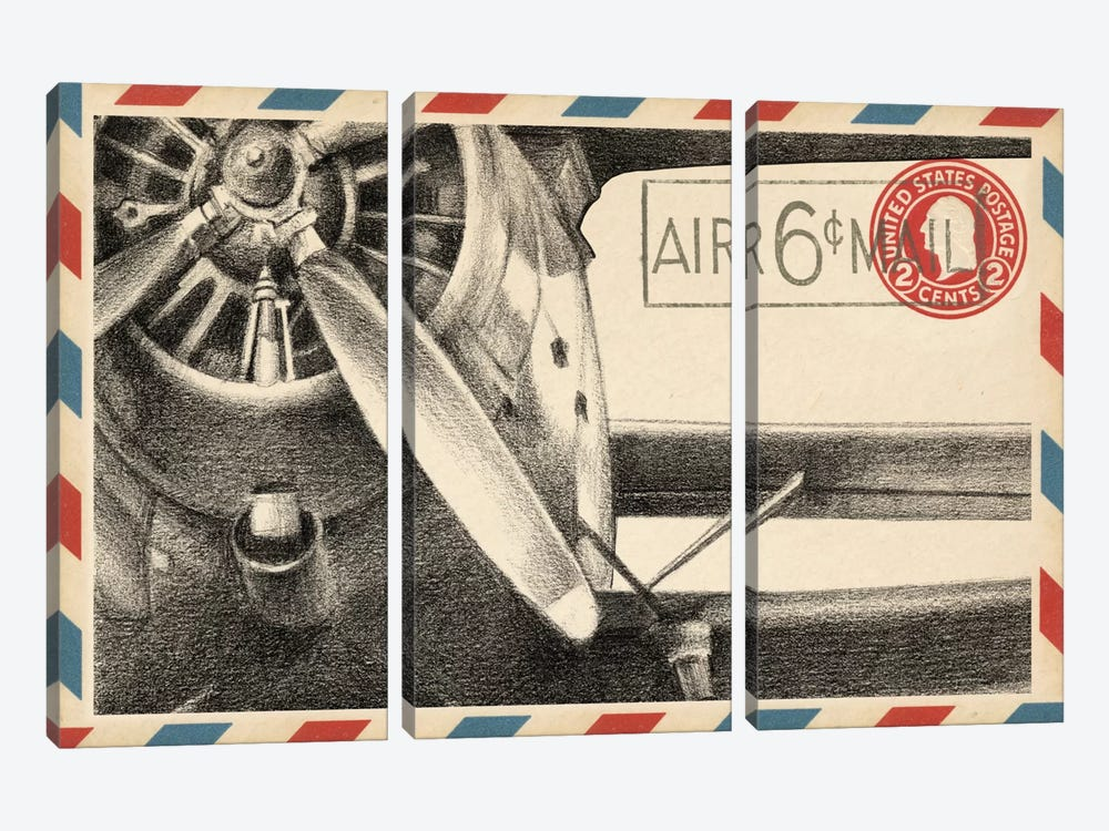 Vintage Airmail II by Ethan Harper 3-piece Canvas Art Print