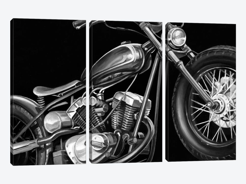 Vintage Motorcycle I by Ethan Harper 3-piece Canvas Art Print