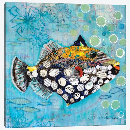 Clown Triggerfish Canvas Print #EHL15} by Elizabeth Hilaire Canvas Wall Art