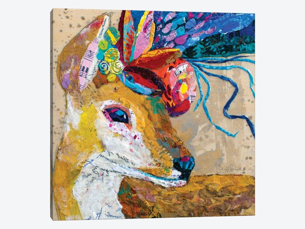 Floral Deer by Elizabeth Hilaire 1-piece Canvas Print