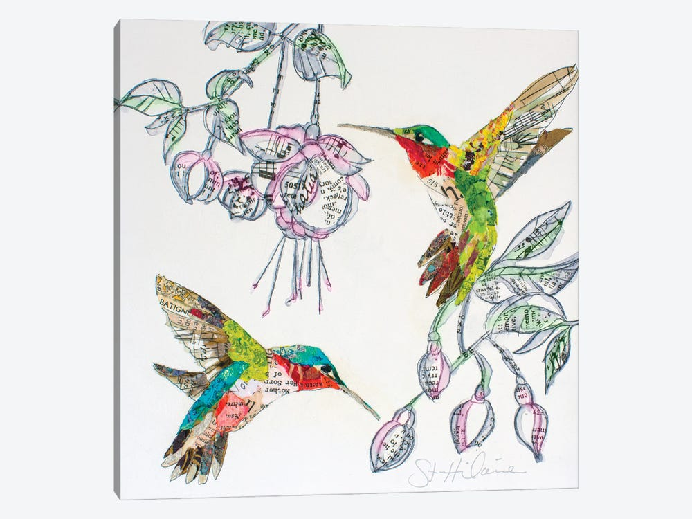 Hummers And Blooms II by Elizabeth Hilaire 1-piece Canvas Art Print