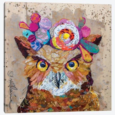 Floral Owl Canvas Print #EHL20} by Elizabeth St. Hilaire Canvas Artwork