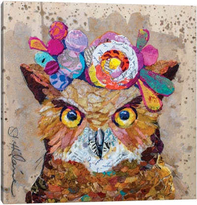 Floral Owl Canvas Art Print