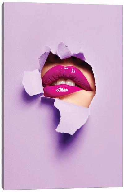 Purple Color Peep Lips Canvas Art Print