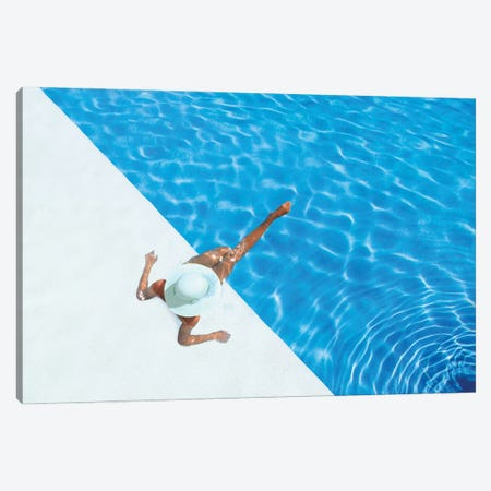 Woman Relaxing In Swimming Pool  3-Piece Canvas #EHS18} by Unknown Artist Canvas Wall Art