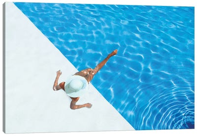 Woman Relaxing In Swimming Pool  Canvas Art Print