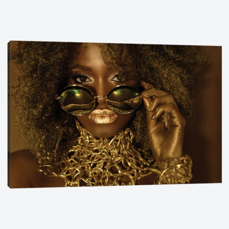 Beautiful African American Woman Wearing Gold Makeup Looking Above Sunglasses Canvas Print #EHS1} by Unknown Artist Art Print