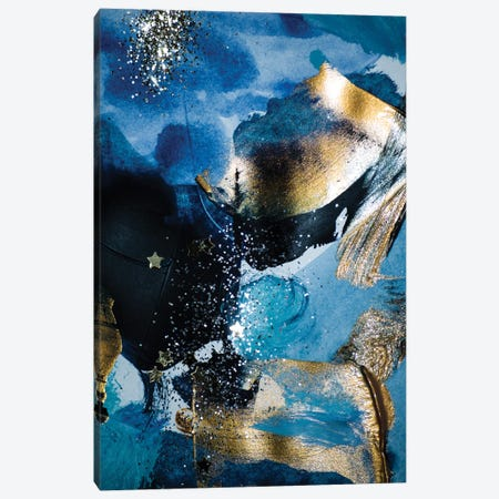 Blue and Gold Paint with Sequins II Canvas Print #EHS4} by Unknown Artist Canvas Wall Art