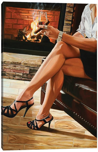 Unwinding By The Fire Canvas Art Print