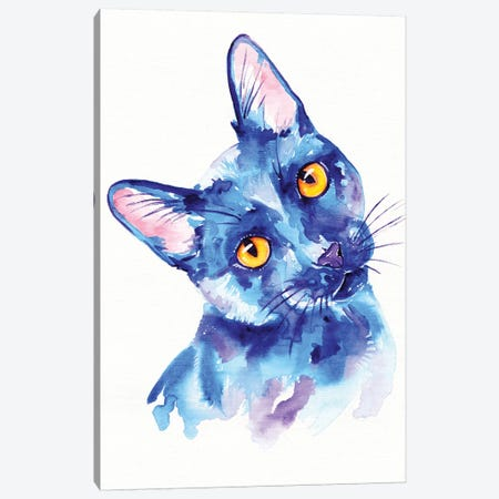 Blue Cat Canvas Print #EIZ10} by Eve Izzett Canvas Wall Art