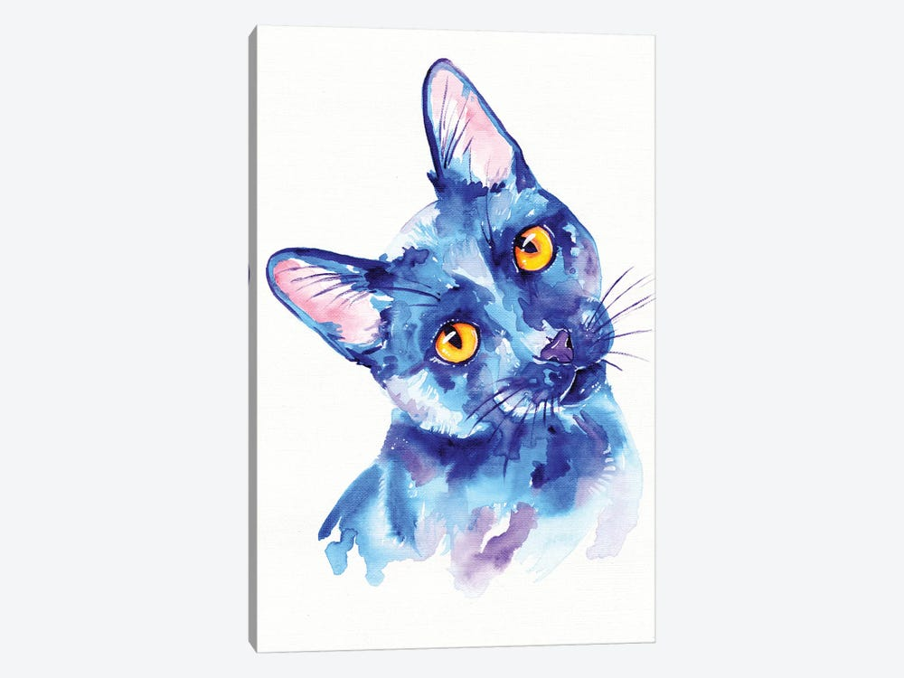 Blue Cat by Eve Izzett 1-piece Canvas Print