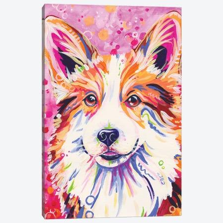 Corgi In Pink Canvas Print #EIZ17} by Eve Izzett Canvas Art Print
