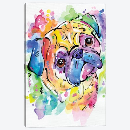 Pugsly Canvas Print #EIZ34} by Eve Izzett Art Print