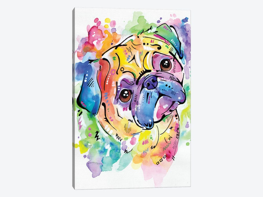 Pugsly by Eve Izzett 1-piece Art Print