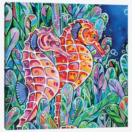 Seahorses Square Canvas Print #EIZ37} by Eve Izzett Canvas Art Print
