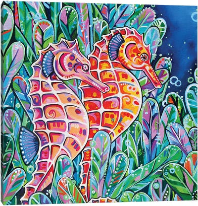 Seahorses Square Canvas Art Print