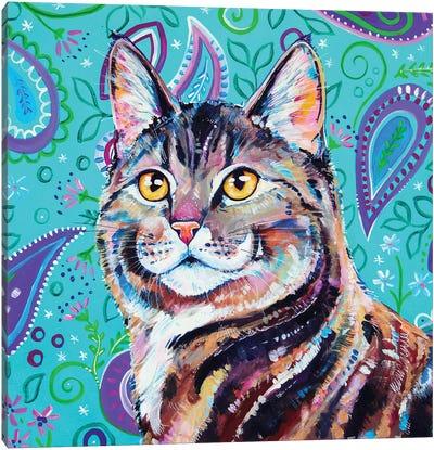 Tabby On Paisley Canvas Art Print