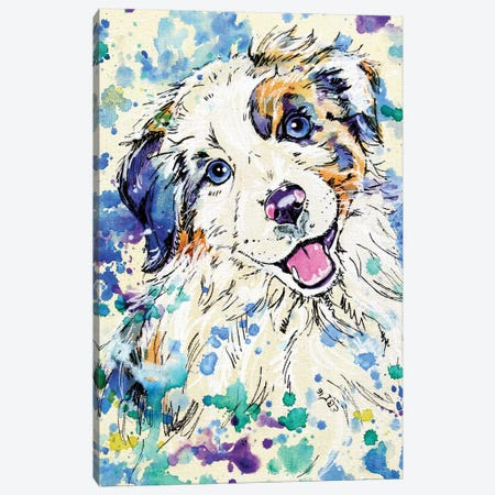 Aussie Pup Canvas Print #EIZ53} by Eve Izzett Canvas Artwork