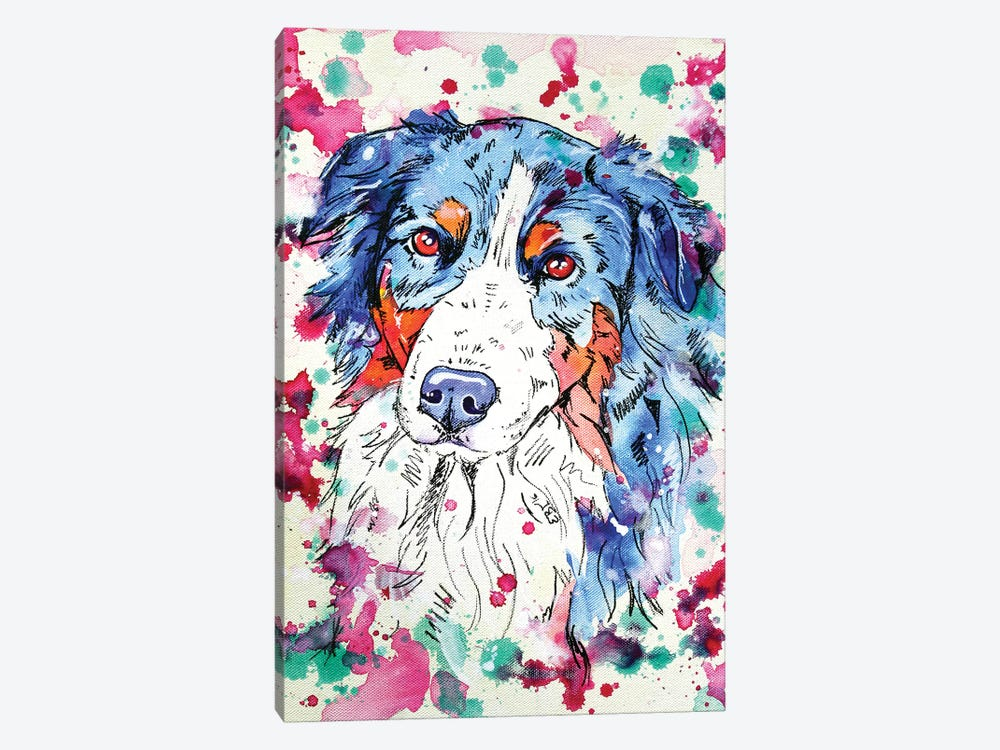 Australian Sheperd I by Eve Izzett 1-piece Canvas Art Print