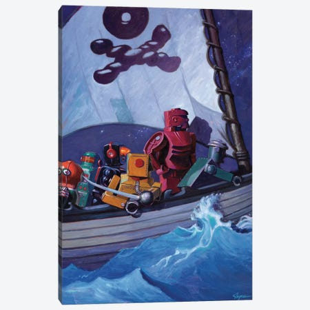 Robo Pirates Canvas Print #EJR18} by Eric Joyner Canvas Wall Art